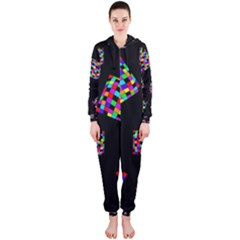 Flying  colorful cubes Hooded Jumpsuit (Ladies)