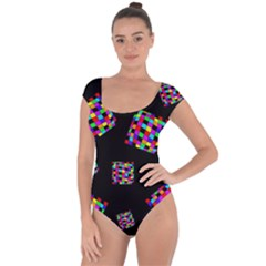 Flying  colorful cubes Short Sleeve Leotard