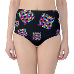 Flying  colorful cubes High-Waist Bikini Bottoms