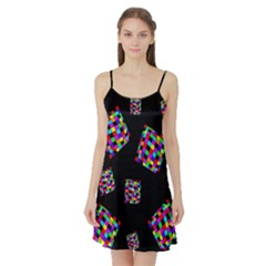 Flying  colorful cubes Satin Night Slip