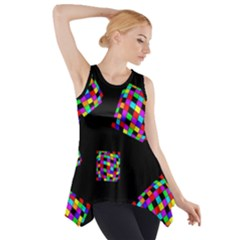 Flying  Colorful Cubes Side Drop Tank Tunic