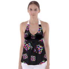 Flying  Colorful Cubes Babydoll Tankini Top