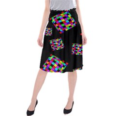 Flying  colorful cubes Midi Beach Skirt