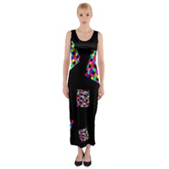 Flying  Colorful Cubes Fitted Maxi Dress