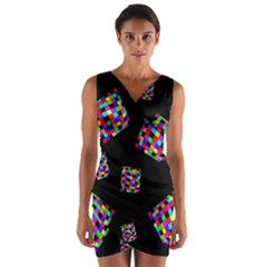 Flying  colorful cubes Wrap Front Bodycon Dress