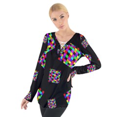 Flying  colorful cubes Women s Tie Up Tee