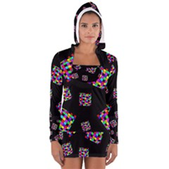 Flying  Colorful Cubes Women s Long Sleeve Hooded T Shirt