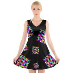 Flying  colorful cubes V-Neck Sleeveless Skater Dress