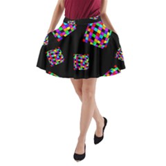 Flying  colorful cubes A-Line Pocket Skirt