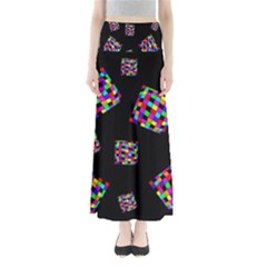 Flying  Colorful Cubes Maxi Skirts