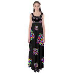Flying  colorful cubes Empire Waist Maxi Dress