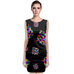 Flying  Colorful Cubes Classic Sleeveless Midi Dress