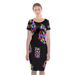 Flying  Colorful Cubes Classic Short Sleeve Midi Dress