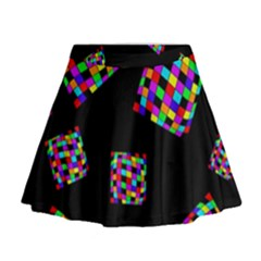 Flying  Colorful Cubes Mini Flare Skirt