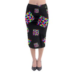 Flying  Colorful Cubes Midi Pencil Skirt
