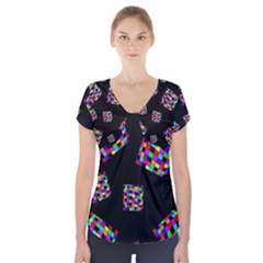 Flying  Colorful Cubes Short Sleeve Front Detail Top