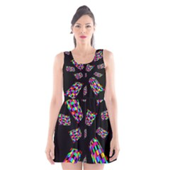Colorful Abstraction Scoop Neck Skater Dress
