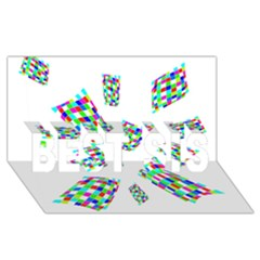 Colorful abstraction BEST SIS 3D Greeting Card (8x4)