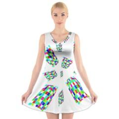 Colorful abstraction V-Neck Sleeveless Skater Dress