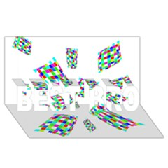 Colorful Abstraction Best Bro 3d Greeting Card (8x4)