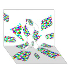 Colorful abstraction Ribbon 3D Greeting Card (7x5)