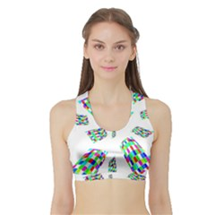 Colorful abstraction Sports Bra with Border