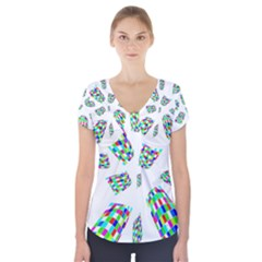 Colorful Abstraction Short Sleeve Front Detail Top
