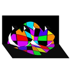 Abstract colorful flower Twin Hearts 3D Greeting Card (8x4)