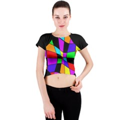 Abstract colorful flower Crew Neck Crop Top
