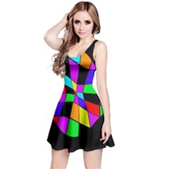 Abstract colorful flower Reversible Sleeveless Dress