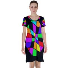 Abstract colorful flower Short Sleeve Nightdress