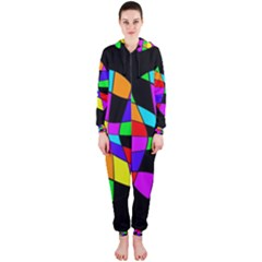 Abstract colorful flower Hooded Jumpsuit (Ladies)