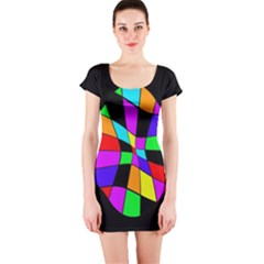 Abstract colorful flower Short Sleeve Bodycon Dress
