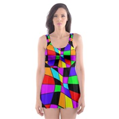 Abstract Colorful Flower Skater Dress Swimsuit