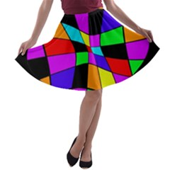 Abstract Colorful Flower A Line Skater Skirt