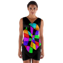 Abstract colorful flower Wrap Front Bodycon Dress