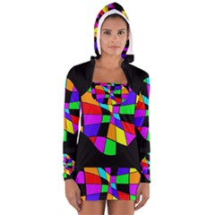 Abstract Colorful Flower Women s Long Sleeve Hooded T Shirt