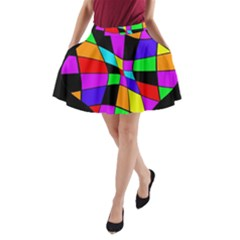 Abstract colorful flower A-Line Pocket Skirt