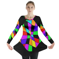Abstract Colorful Flower Long Sleeve Tunic