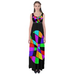 Abstract colorful flower Empire Waist Maxi Dress