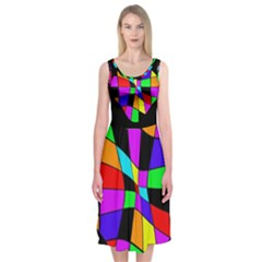 Abstract Colorful Flower Midi Sleeveless Dress