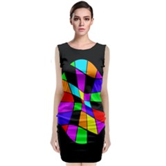 Abstract Colorful Flower Classic Sleeveless Midi Dress