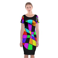 Abstract Colorful Flower Classic Short Sleeve Midi Dress