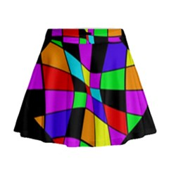 Abstract colorful flower Mini Flare Skirt