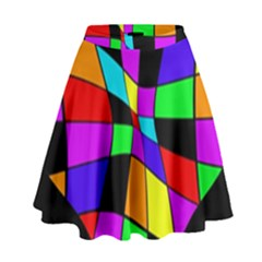 Abstract Colorful Flower High Waist Skirt