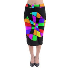 Abstract Colorful Flower Midi Pencil Skirt