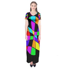 Abstract Colorful Flower Short Sleeve Maxi Dress
