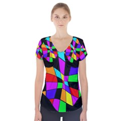 Abstract Colorful Flower Short Sleeve Front Detail Top