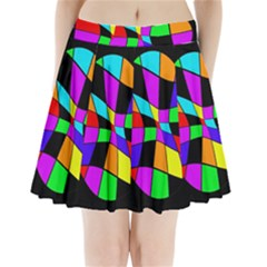 Abstract Colorful Flower Pleated Mini Mesh Skirt