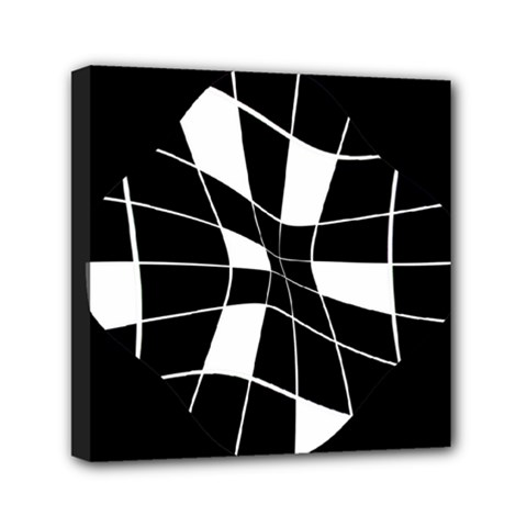 Black and white abstract flower Mini Canvas 6  x 6